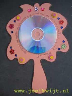 Spiegel van een cd  Ook leuk voor groep 3 na aanleren van 'ik'