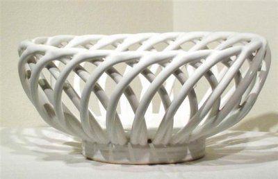 Woven White Bowl Rare Italian White Bowl Woven Basket