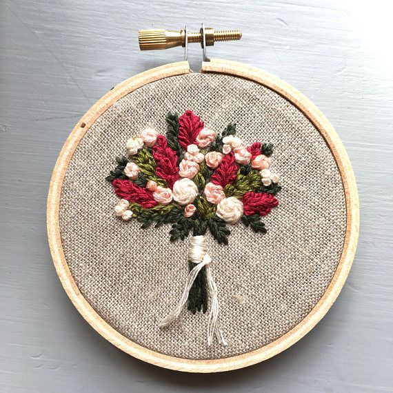 Los agricultores mercado ramo Nº 7 - bordado a mano, cosidos flores, arte Floral aro, flores silvestres, costura, decoración de habitación de niña