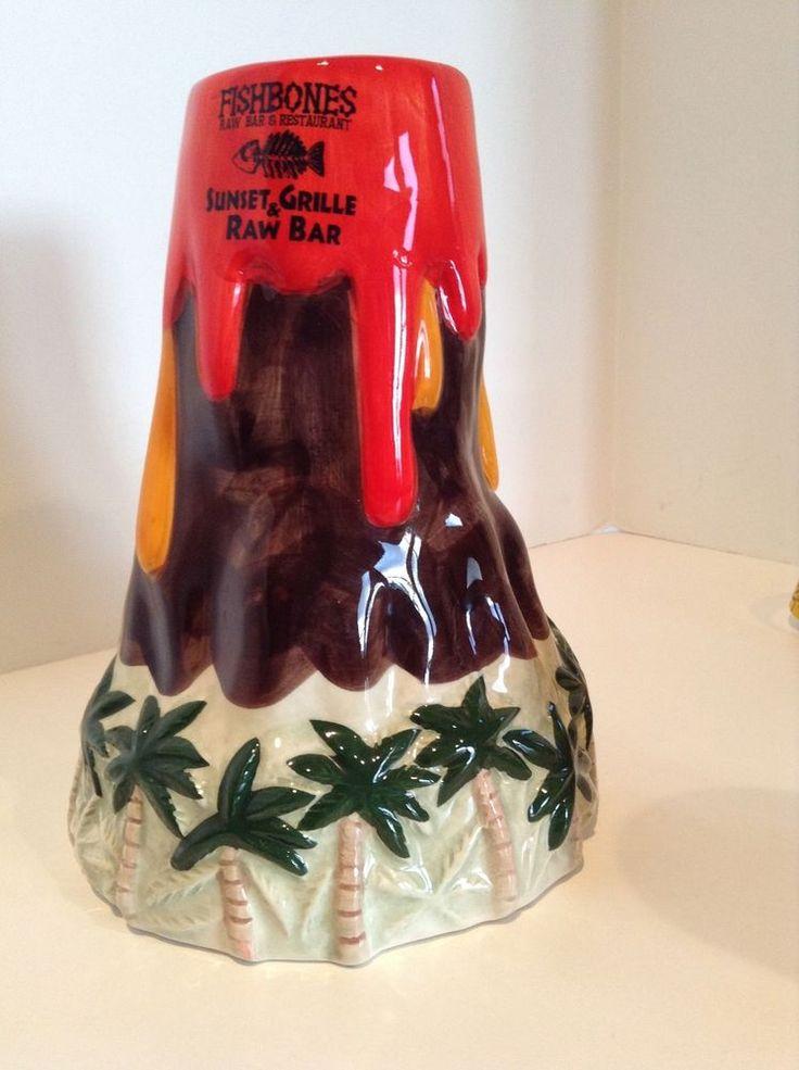 Tiki Mug Volcano Aloha Fishbones Raw Bar Sunset Grille Lava Ceramic Hawaiian