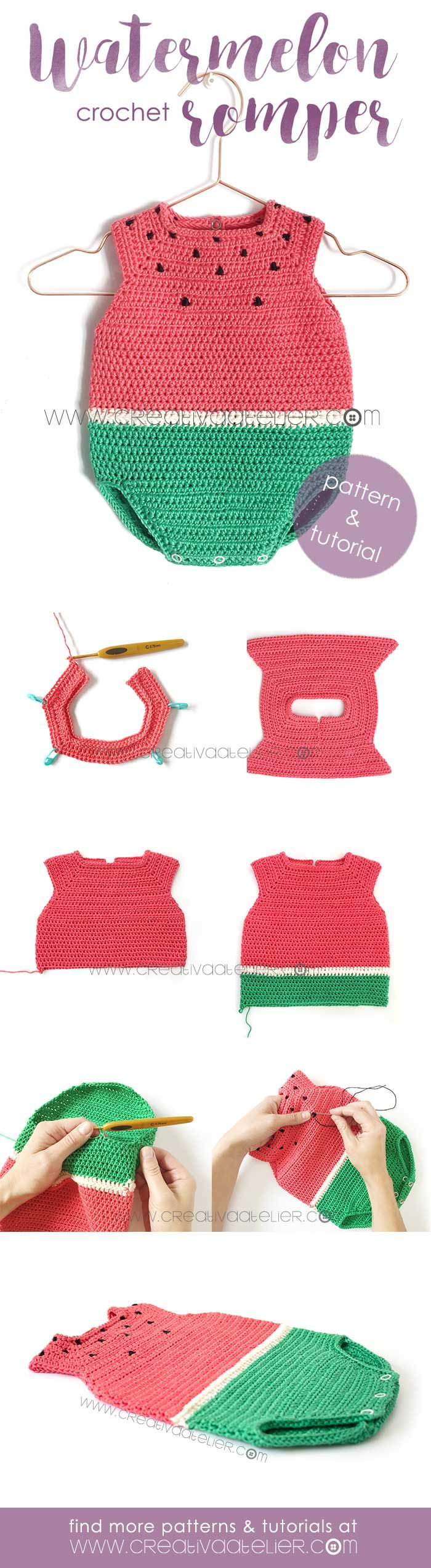 Watermelon Crochet Romper 🍉 Pattern & Tutorial