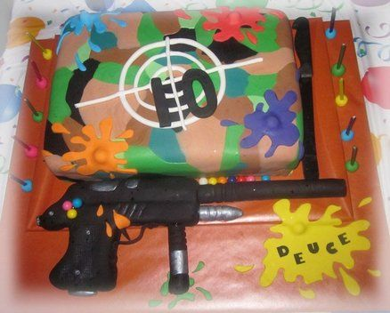 Paintball cake - like the 10 on the target...note to self:  he wants Lemon