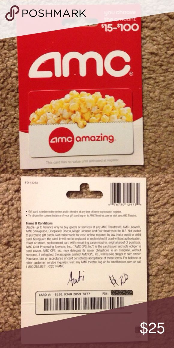 BRAND NEW $20 amc movie theater gift card Brand new gift card for amc theaters. Never been used, has $20! I have no amc theater near me and have no use for this. Willing to give you the card number and pin for you to verify balance before purchase, just comment. Will lower the price before purchase to ensure you get free shipping!!!! Just comment if you want to buy it💋 amc Other