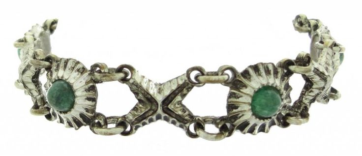 Kalervo Sainio pewter bracelet rosette with aventurine
