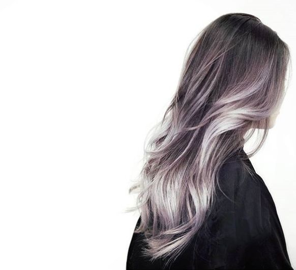 grey hair with purple tints