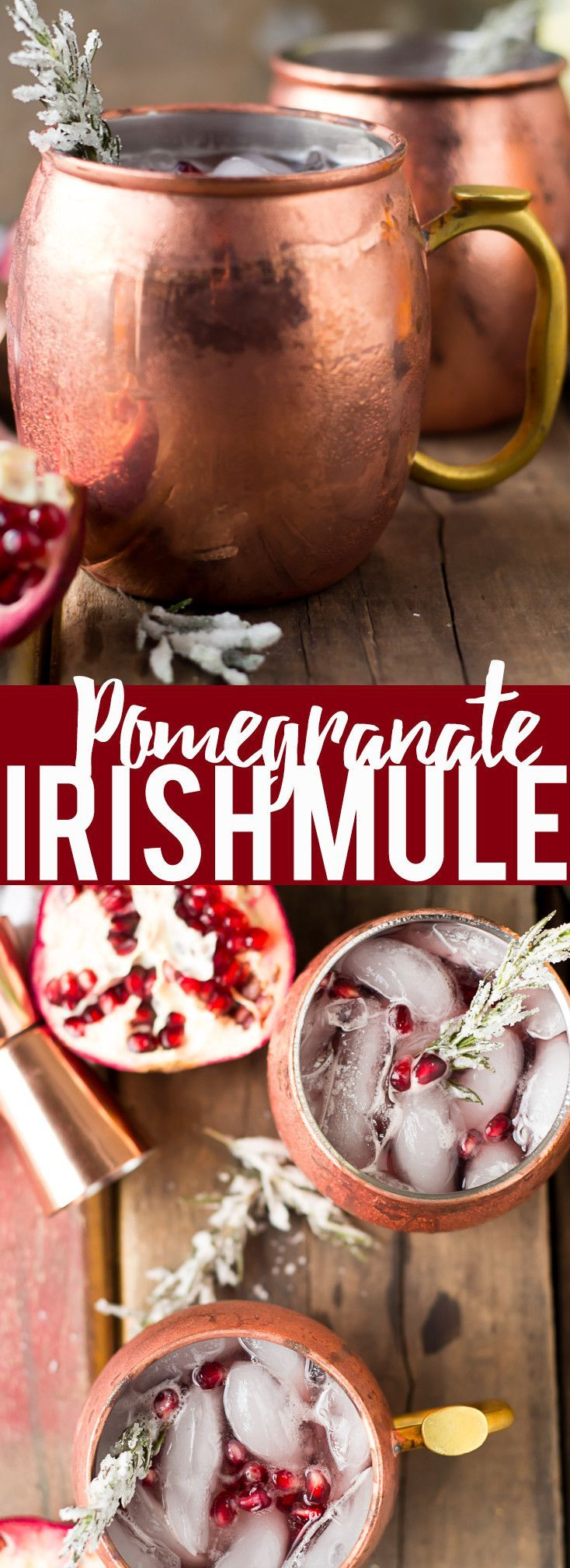 Pomegranate Irish Mule | Pomegranate Recipes | Winter Cocktail | Whiskey Cocktail | Christmas Cocktail | Holiday pomegranate drink | Pomegranate moscow mule | Easy Cocktail | Thanksgiving drink