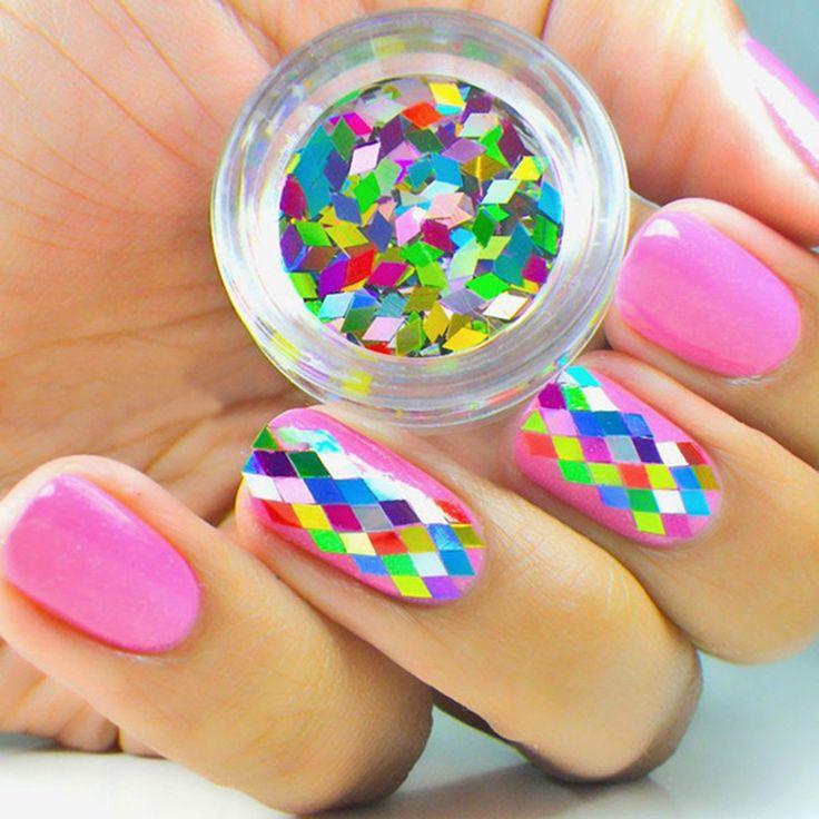1Box Colorful Nail Art Decorations Hexagon Shape Sheets Tips Nail Art Decoration 3D Nail Art Tip Decorations Nail Stikcer M03351