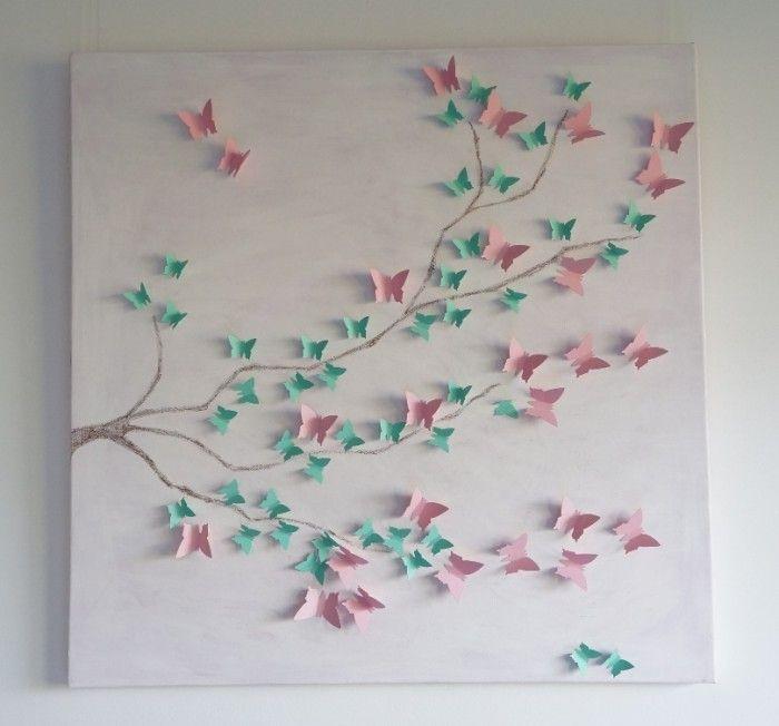 200 papieren 3D Vlinders Roze Mintgroen