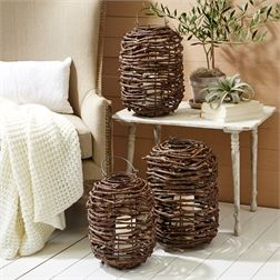 Rattan Set of 3 Lanterns