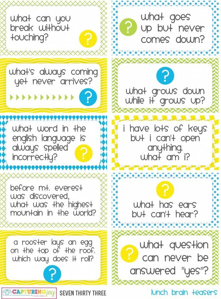 Printable Kids Lunch Jokes and Brain Teasers | ~Kids lunch Notes ...