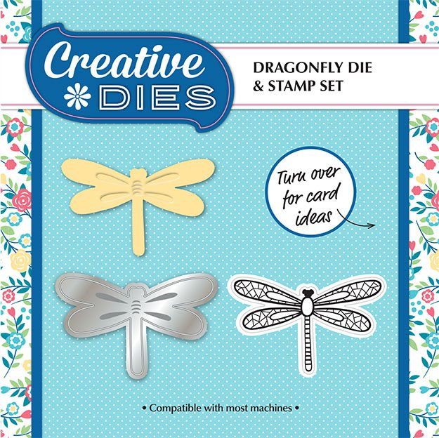 Dragonfly embossing die & stamp set FREE with Simply Cards & Papercraft 134 worth £17.99! Grab yours here: http://www.moremags.com/home-page-scroller/issue134-simply-cards-papercraft