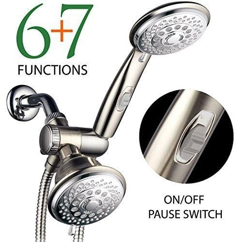 HotelSpa® Designer Collection Ultra Luxury 2 Tone 30 Setting Shower Head/Handheld  Shower Combo By Top Brand Manufacturer (Chrome/Brushed Nickel Finish)