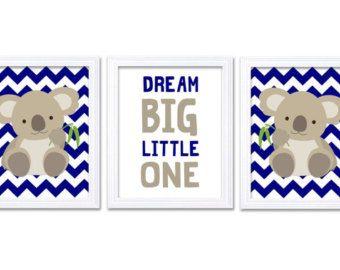 koala nursery art set of 3 print navy blue grey gray dream big little one child