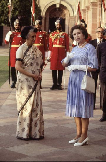 India: The queen met with Mrs. Indira Gandhi in Delhi, India.