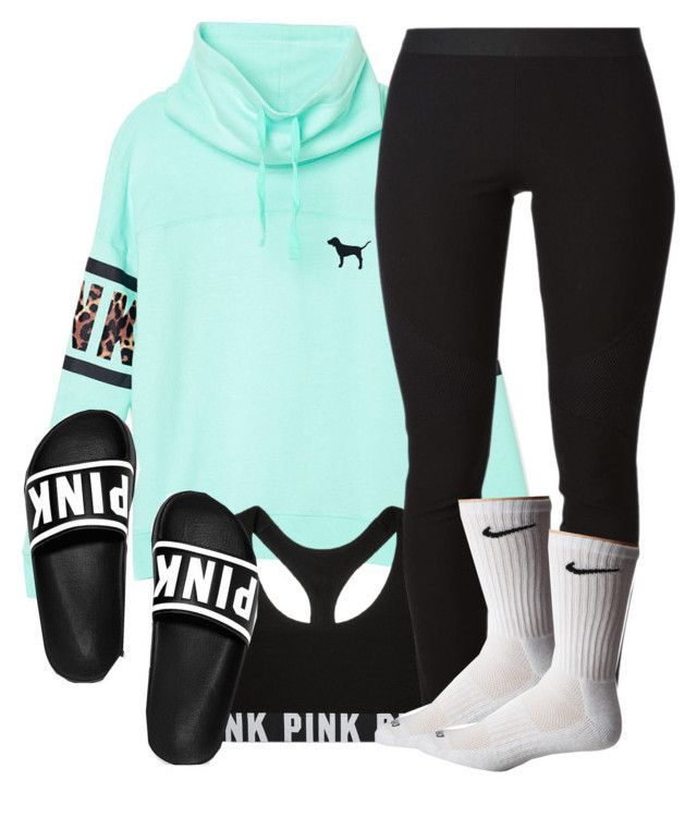 """bby you da one..;)"" by a-simone143 ❤ liked on Polyvore featuring Victoria's Secret PINK, Helmut Lang and NIKE"