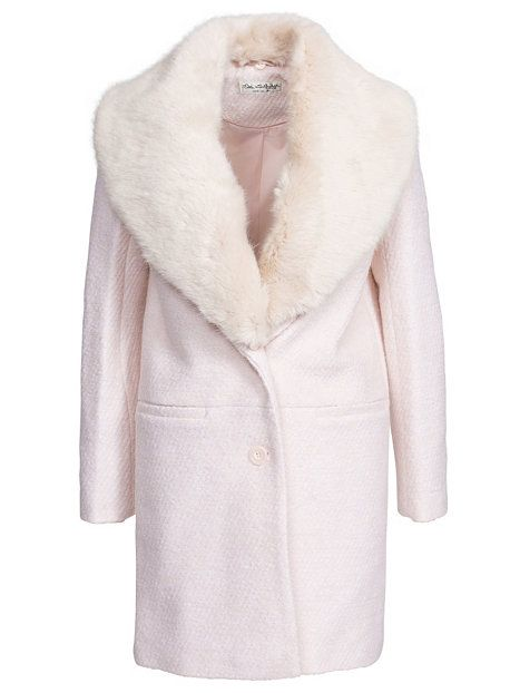 Shoppa Faux Fur Trim Crombie - Online Hos Nelly.com