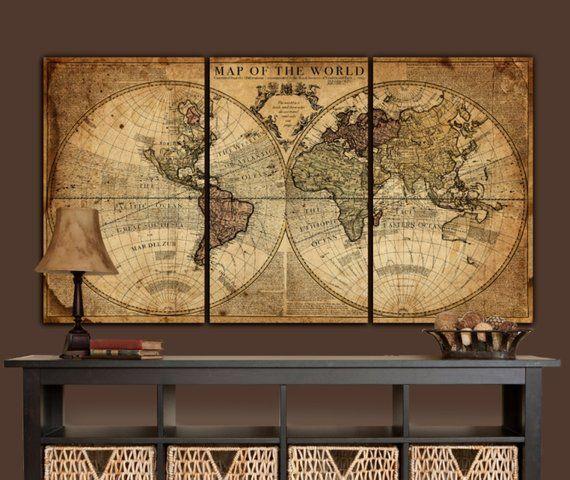 Globe Tan Map World Map Canvas Vintage Map Art Brown Gold Etsy World Map Wall Art Vintage Maps Art Map Wall Art