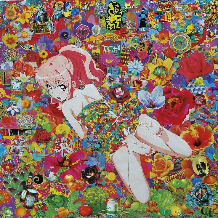 Felipe Cardena, Flowers Mimesis, collage on canvas, cm 100x100