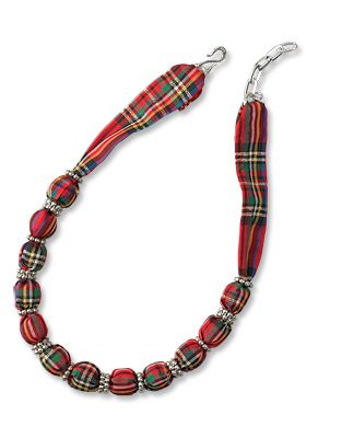 Made in USA, Made in America.  Plaid Scarf Necklace - Christmas-Plaid Silk-Scarf Necklace -- Orvis on Orvis.com!