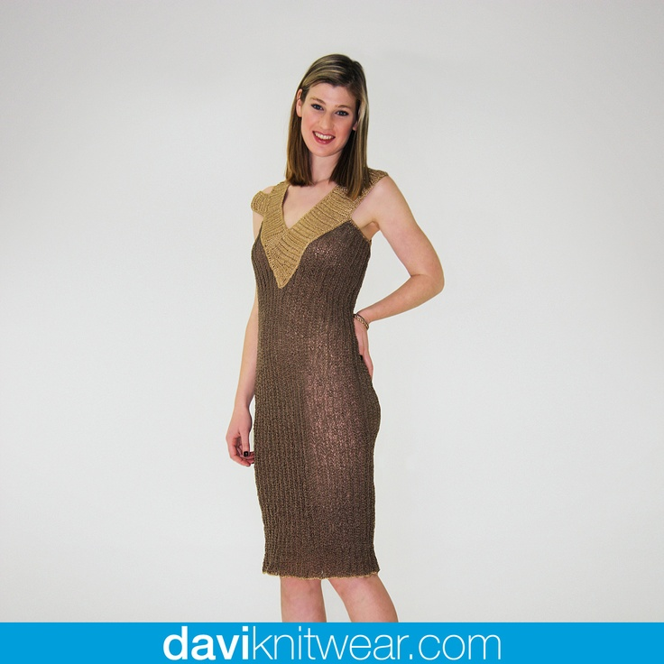 Bronze and gold hand knitted cocktail dress