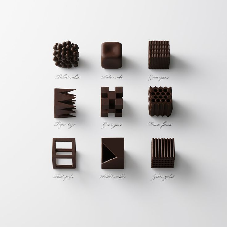 Chocolate textures to represent Japanese words by Nendo