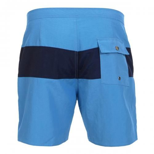 MID-LENGTH NYLON BOARDSHORTS WITH COLORED PANEL Grant nylon Boardshorts with a contrsasting colored panel, fixed waist with drawstring and Velcro fly, a back pocket with snap button, interior lining, Saturdays Surf NYC label sewn on the bottom. COMPOSITION: 100% NYLON. Our model wears size 32, he is 189 cm tall and weighs 86 Kg.
