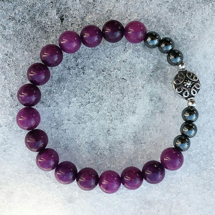 Purple fluorite & hematite natural stone yoga zen healing bracelet available at bellazenbracelets.etsy.com