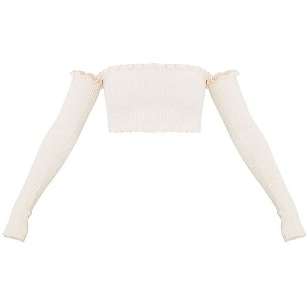 Giani Cream Ruffle Detail Knit Bardot Long Sleeve Top ❤ liked on Polyvore featuring tops, ruffle top, knit top, long sleeve tops, white frill top and ruffle long sleeve top
