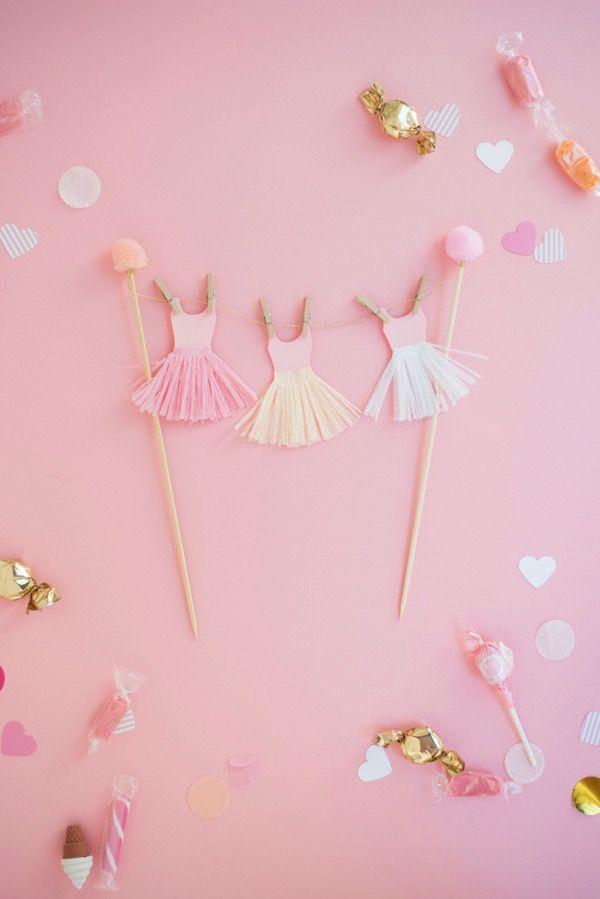 DIY Ballerina Tutu Cake Topper   Oh Happy Day!