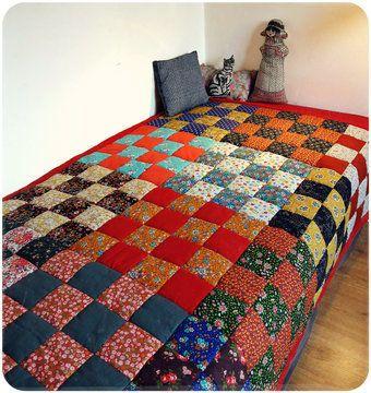 """Couverture en patchwork """" Prairie"""" - tuto couture - Patrons et tutoriels de couture chez Makerist                                                                                                                                                     Plus"""