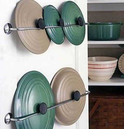 Small Kitchen Organizing Ideas - Towel Rails for Pot Lids - Click Pic for 42 DIY Kitchen Organization Ideas  Tips IF IT DOES NOT SHOW UP, IT IS # 7 SHOWING LID STORAGE FOR POTS....I ALWAYS AM LOOKING FOR THE RIGHT LID....THIS WAY MAKES IT EASIER AND LESS FRUSTRATING!!