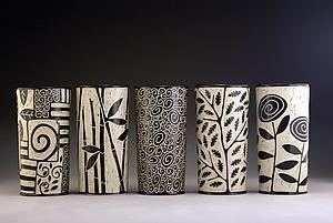 Cylinder Vases: Jennifer Falter: Ceramic Vessel | Artful Home - Zentangle gourd vases?