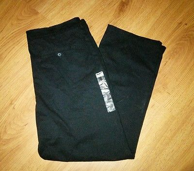 Men's Merona Ultimate Black Khaki Chino Pants 36 x 30 Cotton New Flat Front