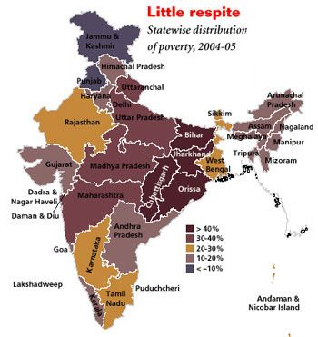 Map of poverty in India state by state. Despite the country's meteoric GDP growth rate (about 9%), poverty in India is still pervasive; especially in rural areas where 70% of India's 1.2 billion population live.