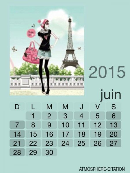 CALENDRIER JUIN 2015