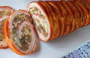 Baconbe tekert pulykamellrolád Nagyon szeretjük a szárnyasokat és a göngyölt húsokat is.A baconbe tekerés miatt nem szárad ki,melegen és hidegen is tökéletes. Baconbe...