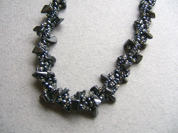 Necklace.Hematite necklace. Beadwork Jewelry. by FerCreations, $28.00