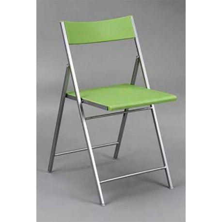 Conjunto de seis Sillas Plegables modelo Charlie con estructura de aluminio en color gris con 4 colores de asiento y respaldo a elegir: blanco, negro, verde y naranja.