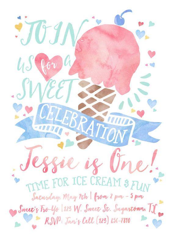 Ice Cream Birthday Invitation, Sweet Celebration, Pink Watercolor Birthday…