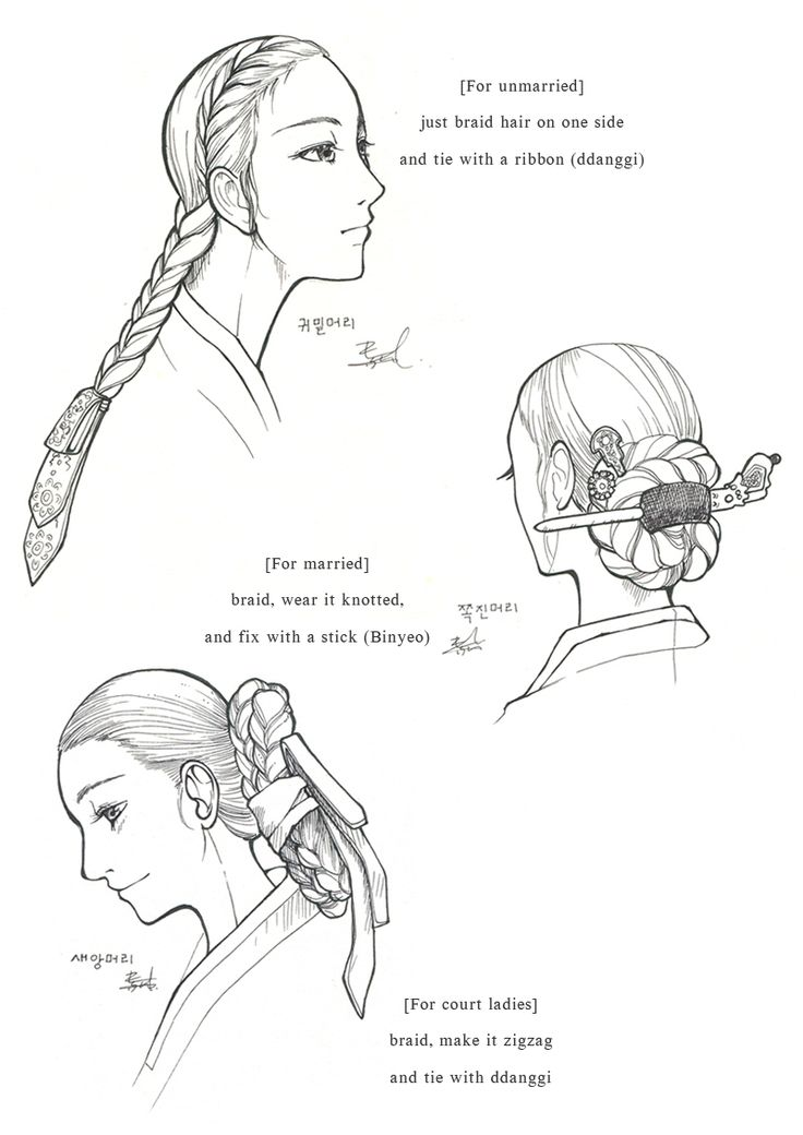 Hanbok, Womens' Hair by Glimja on deviantARTHanbok, Womens' Hair / 2012  Hanbok is Korean traditional clothes, especially from 1392~1910  During this period, women's hairstyle is mainly centered around 'braiding'.