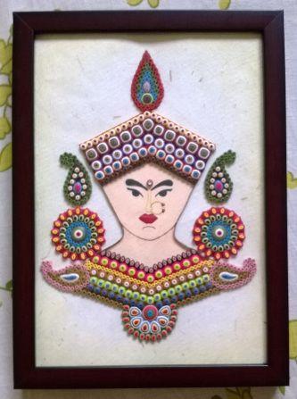 Goddess Durga in Ornamental Quilling
