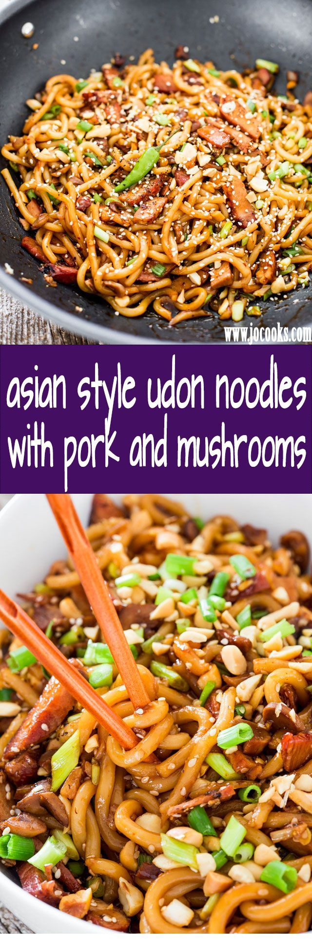 Asian Style Udon Noodles with Pork and Mushrooms - a super quick and incredibly easy udon noodles dish with pork, mushrooms and a spicy sauce. Dinner in 20 minutes tops!