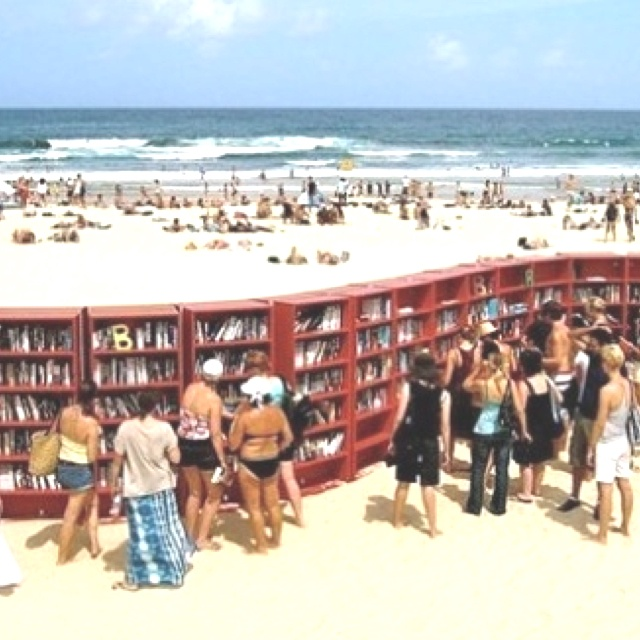Beach library in Italy.