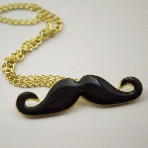 Pendentif moustache noir. #collier #bijoux #mode #accessoire #moustache