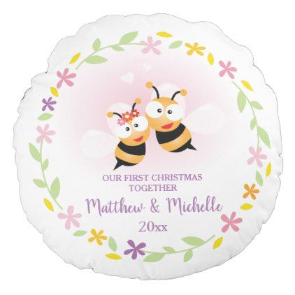 Cute Mr And Mrs Honey Bee First Christmas Keepsake Round Pillow - Xmas ChristmasEve Christmas Eve Christmas merry xmas family kids gifts holidays Santa