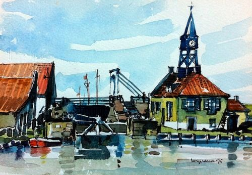 Wynand Smit Snr Artist / Architect - watercolour, probably in Netherlands