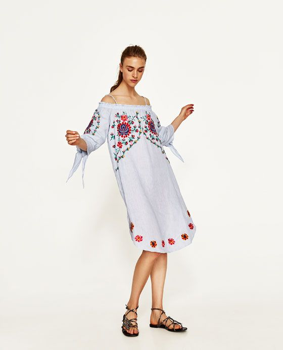 ZARA - WOMAN - LINEN DRESS WITH FLOWERS EMBROIDERY