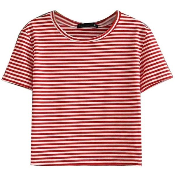 Red Stripe Short Sleeve Cropped T-shirt ($18) ❤ liked on Polyvore featuring tops, t-shirts, striped crop top, red t shirt, crop tee, crop t shirt and red striped tee