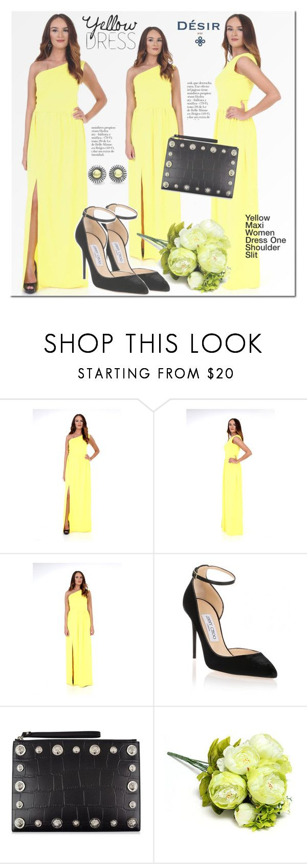 Desir Vale Yellow Maxi Dress by mada-malureanu on Polyvore featuring Jimmy Choo, Versus, Lagos and plus size dresses