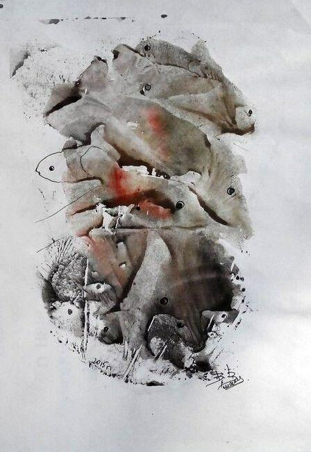Рыбки,монотипия,бумага,гуашь